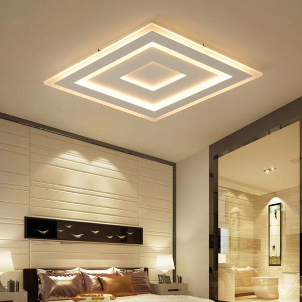 Plafoniere a led moderne ultra sottili sottili montate a plafone lamparas de techo Plafoniere quadrate rettangolari in acrilico