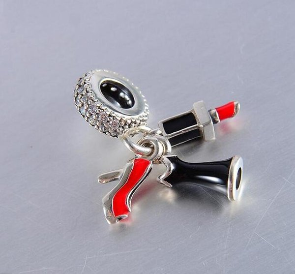 2 piece/lot S925 sterling silver charms dangle lipstick authentic fits for pandora style bracelet free shipping H8ale 792156ENMX