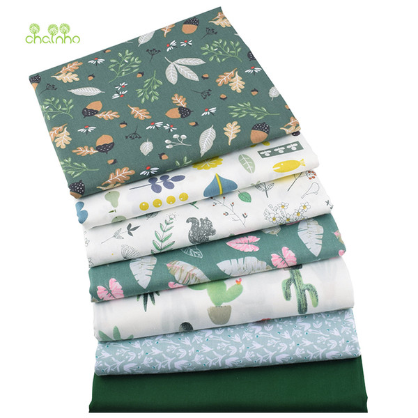 Chainho,7pcs/lot,Green Floral Series,Printed Twill Cotton Fabric,Patchwork Cloth,DIY Sewing&Quilting Material For BabyΧldren