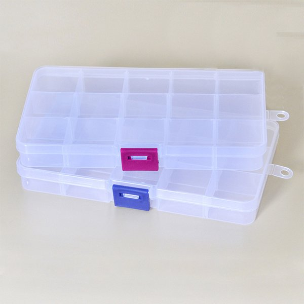 Plastic 15 Slots Compartment Adjustable Necklace Transparent Storage Box Case Organizer Removable Makeup Jewelry Scattered Beads