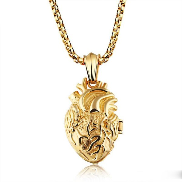 Wholesale 4*60CM Heart Organ Pendant Locket Float Hip Hop Designer Jewelry Choker Iced Out Chains Mens Stainless Steel Jewelry Mens Necklace