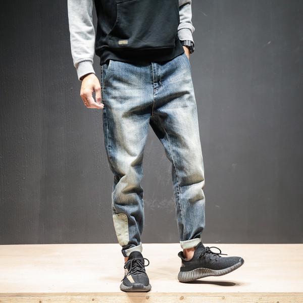 Mens Jeans Distrressed Jogger Jeans Big pocket Hip Hop Loose Denim Harem Pants Retro Blue Elastic Jeans Men large size 42