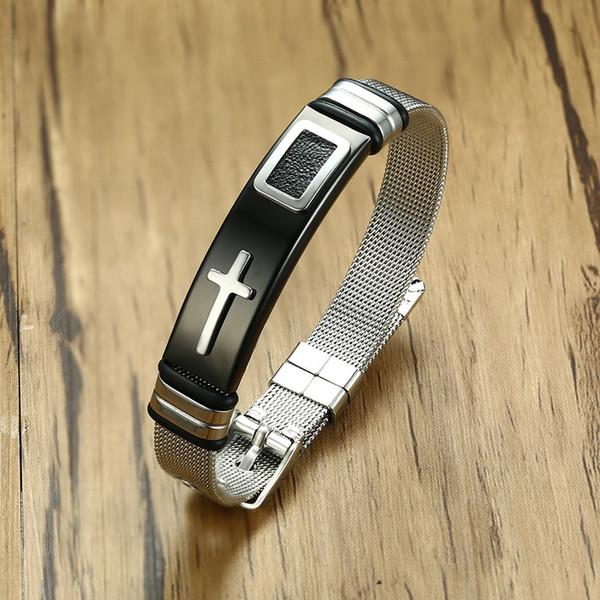 Length Adjustable Strap Bracelets for Man Women Watch Band Style Stainless Steel Net Band Christian Cross Prayer Male Jewelry