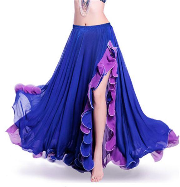 Rot Grün Dancewear Professional Bauchtanz Kleidung Flamenco Indian Gypsy Sexy Split Chiffon Röcke Orientalische Praxis Bauchtanz Rock