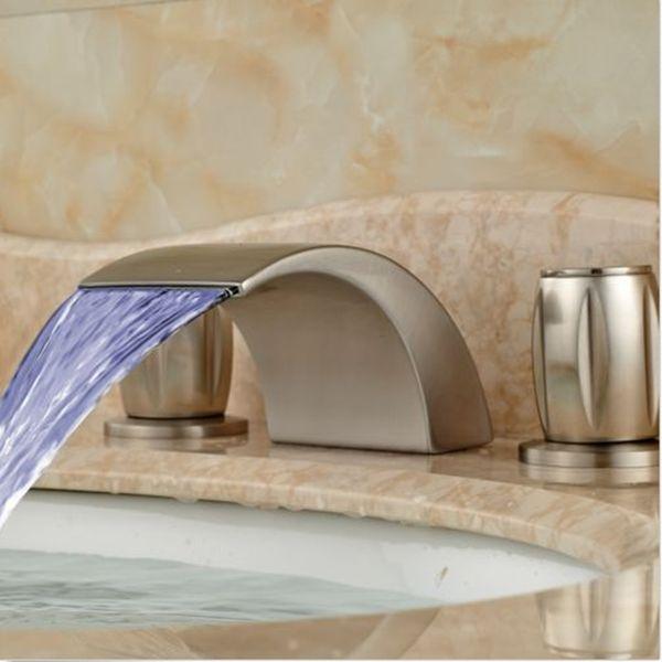 Widespread Nickel Brushed Waterfall Bathroom Basin Faucet 3 Holes 2 Handles Tap