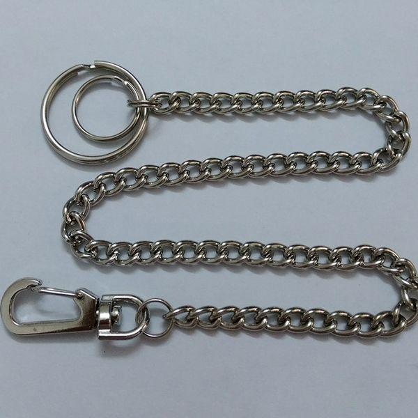 38cm Long Metal Wallet Belt Chain Rock Punk Trousers Keychain Silver Ring Clip Keyring Men's HipHop Jewelry