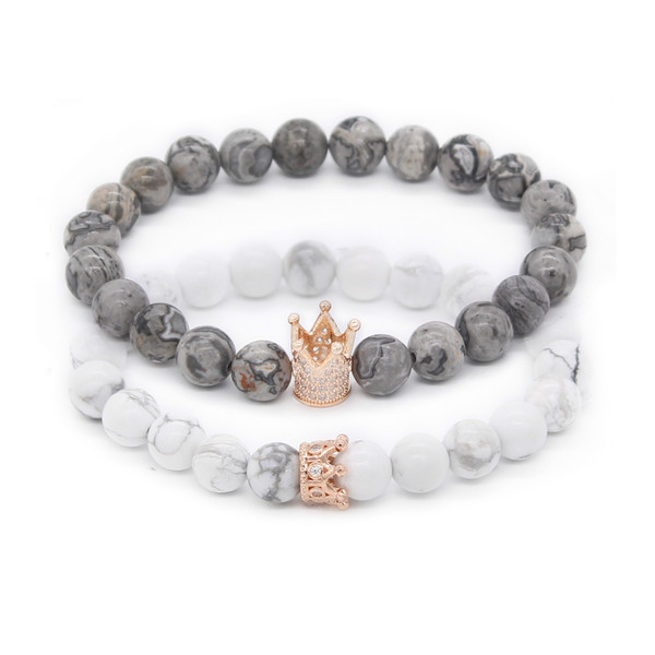 His And Hers Bracelets 8mm Grey Map Stone Howlite Beads Crown King Charm Bracelet para amantes Distancia Joyas