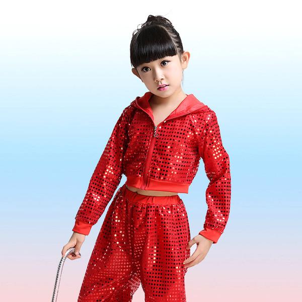 2018 yeni çocuk Sequins Uygulama Performansı Latin Caz Dans Balo Salonu Dans Mayoları Kızlar / erkekler Latin Dans Kostümleri sıcak