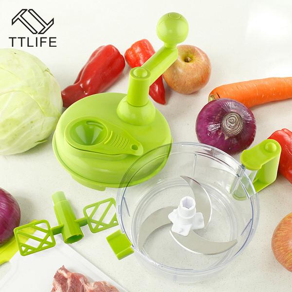 Processador de Alimentos Manual de plástico Multi-Função Moedor de Carne para Uso Doméstico Picador de Legumes Chopper Egg Blender Machine Shredder Food