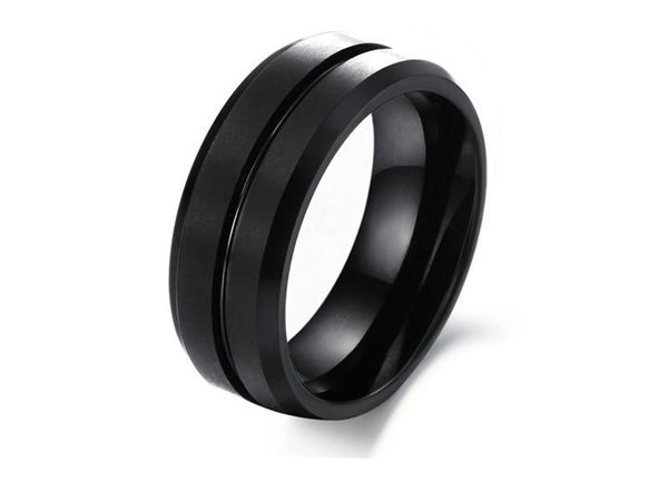 CLASSIC 8mm Black Tungsten Steel Wedding Band Mens Rings - Polished Finish Grooved Center Ring - Stainless Steel Biker Rings