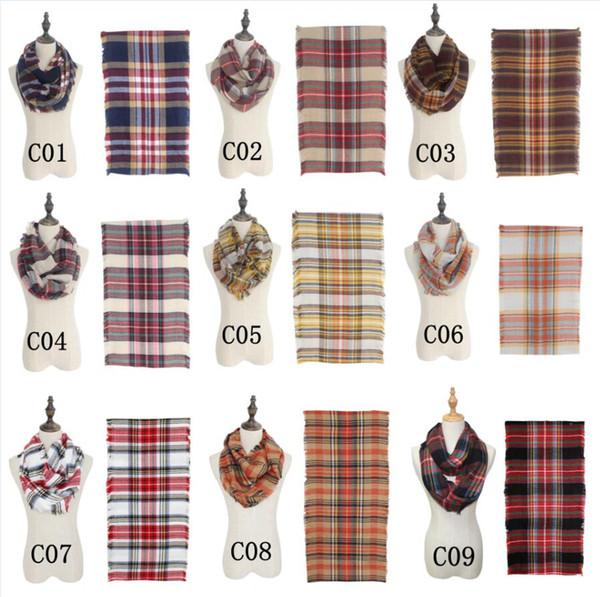 top popular Women Plaid Blanket Scarf Winter Loop Scarf Warm Shawl Infinity Plaid Scarves Unisex Basic Autumn Winter Wrap neckerchief boa AAA852 2021