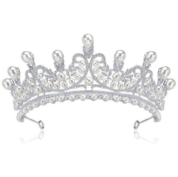 Elegant Imitation Pearl Rhinestone inlay Bridal Crown Tiara Wedding Bride Hair Jewelry Accessories Headpieces 1pcs drop shipping