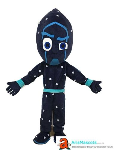 AM9502 adult size Night Ninja costume mascot characater design and production at arismascots custom mascots funny mascot costumes for sale