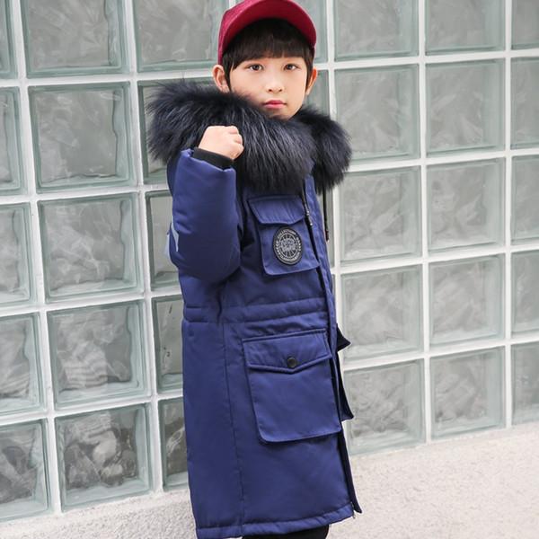 2018 Crianças Casacos de Inverno Meninos Crianças Casaco de Inverno para a Roupa do Menino Longo Parka Grande Meninos Adolescentes Roupas Tamanho 8 10 12 14 Ano