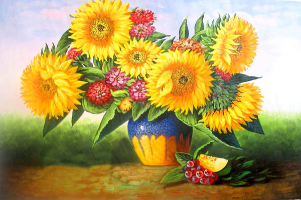 16x20 inches Beautiful Harvest Of Sunflower Flowers DIY Paint On Canvas drawing By Numbers Kits Art Acrylic Oil Painting Frame