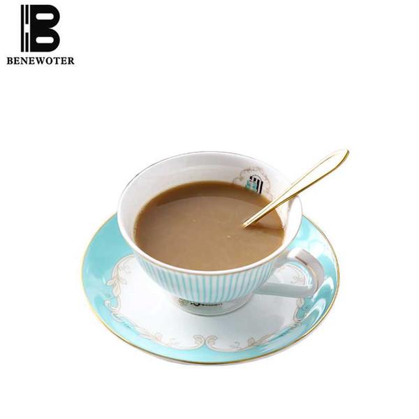 220cc Creative Gold Rim Stripe Ceramic Bone china Coffee Cup with Saucer Kit Fruit Juice Milk Mug for Birthday Gifts Drinkware