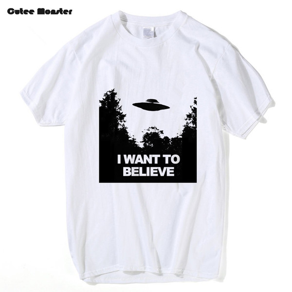 2017 Summer X-Files T-shirt Men fashion short sleeve Tees I Want To Believe Aliens UFO Tees Hip Hop Cotton T Shirt Clothing