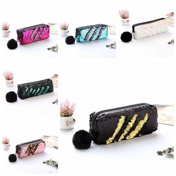 Love Sequin Pencil Pen Makeup Storage Bags Fashion Cute Mermaid Sequin Fur Ball Cosmetic Bags Cases Purse MMA919 120pcs