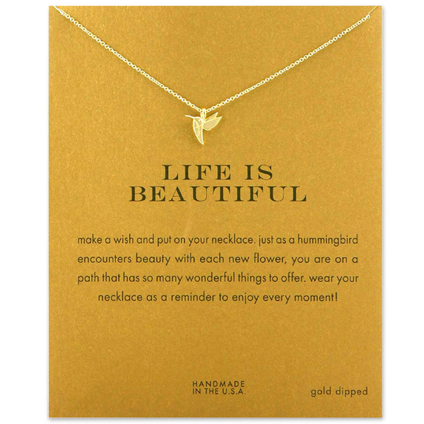 2018 New Hummingbird Woodpecker Pendant Short Chain Choker Necklace For Women Golden wish necklace with card Jewelry As gift