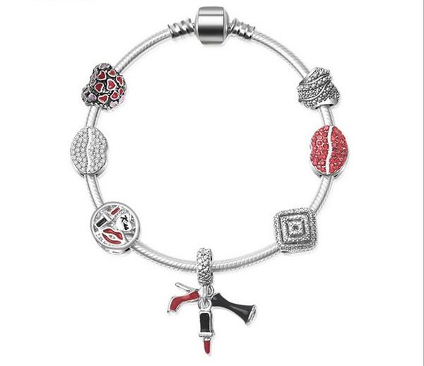 Art und Weise reizvolle rote Lippen Lippenstift-Absatz-Schuh Liebes-Herz-europäische Charme-Korn-925 Sterlings Armband passt Pandora-Charme-Armband-Halskette