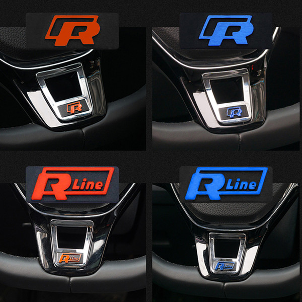For VW Golf 7 Passat Touran Polo R Rline Logo Steering Wheel Emblem Badge Decal Sticker Aluminium Alloy Styling Interior Accessory