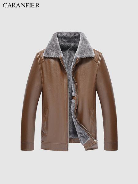 Mens Leather Jackets Winter Plus Velvet Thicken Outerwear Motorcycle Fur Collar Coats Parka Classic Zipper Overcoats