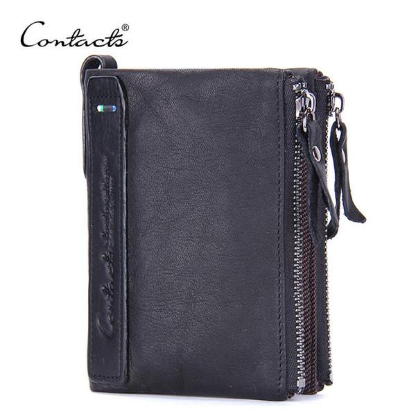 CONTACT'S Organizador de cuero genuino carteras marca Vintage cuero de cuero corto bifold negro cartera de los hombres monedero titular de la tarjeta