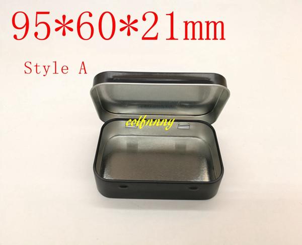 200pcs/lot Plain black and white tin box 9.5cmx6cmx2.1cm Rectangle tea candy business card usb storage box case