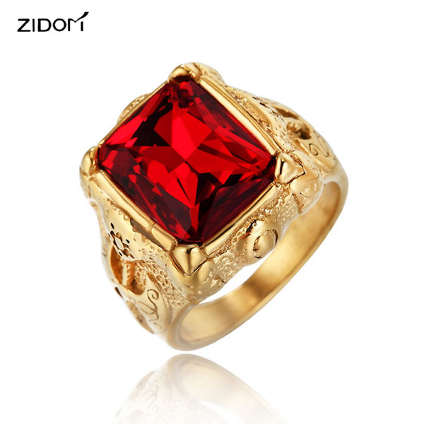 Gold color High quality Vintage 316L Stainless Steel with Red blue Gem Men rings fashion Hiphop axe pattern ring Male jewelry