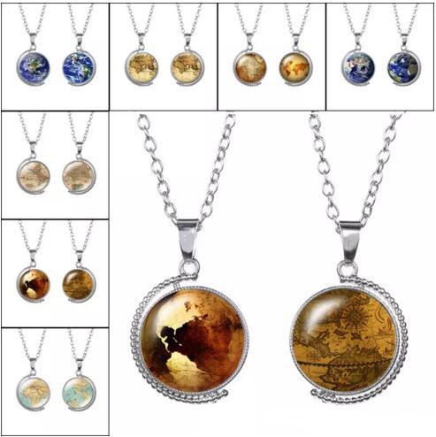 Double Side Earth World Map Tellurion Ocean Rotatable glass Necklace dome Necklaces Pendants for Women Lady Jewelry Gift 7 Colors