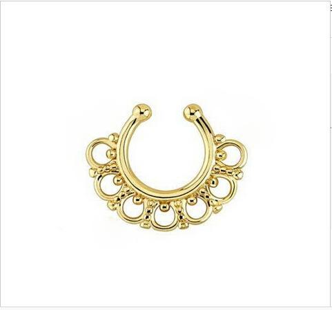 30pcs Medical Nostril silver gold-color Nose Hoop nose rings and stud fake nose piercing for women jewelry Free shipping N0010
