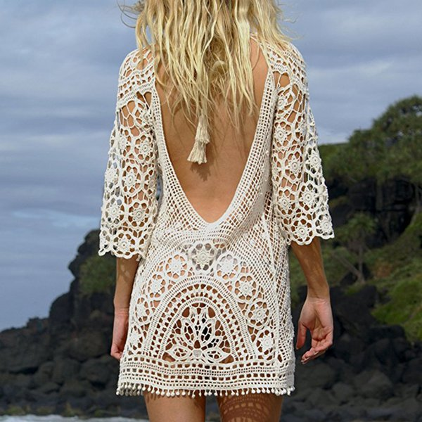 b2378ecdfc Women Bathing Suit Cover Up Crochet Lace Bikini Swimsuit Dress For Tanning  Salon Beach Swimming Pool