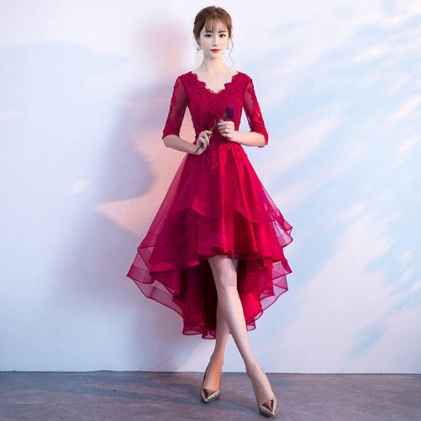 2018 New Red Organza Dama de Honra Vestidos de Mangas Meia-Manga Curta Júnior Formais Vestidos V Neck Hi-Lo Meninas Homecoming Vestido Frete Grátis