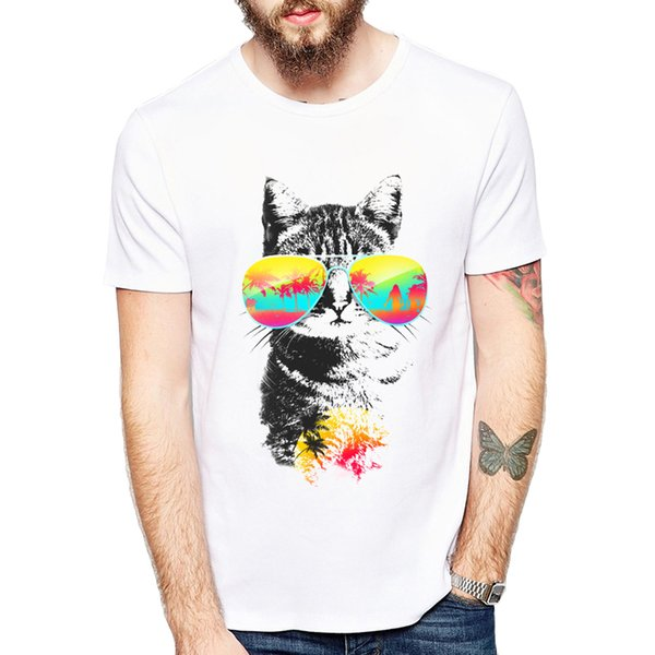 Cute Cat Breeze And Cat Playing Drums T-shirts Men Summer Tops Tees Print Funny Animal T Shirt Men O - Neck Fashion Tshirts