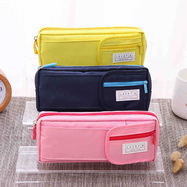 1pcs Deli simple small fresh pencil high school student pencils multi-layer stationery pencil bags large capacity men and women