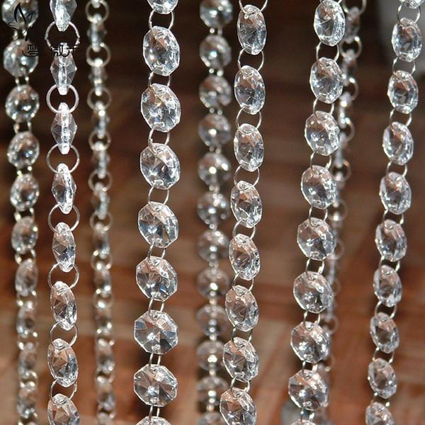 198 FEET Crystal Garland Strands 14mm clear Acrylic crystal octagon beads chain Wedding Party Manzanita Tree Hanging Decorations