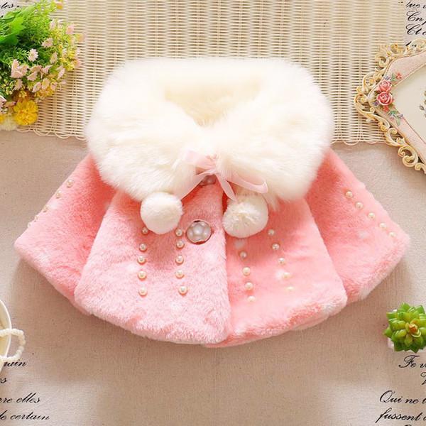 Cute Kids Cappotti Neonate Faux Fur Fleece Cappotti Princess Winter Warm Scialle a maniche lunghe Giacca Parka Kids Girls Clothes Outwear per bambini