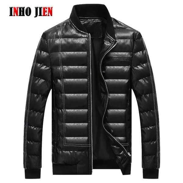 New Brand Winter Parkas Men Fashion Warm Cotton Padded Leather Coats Mens Casual Spring Autumn Jackets Male Overcoat Windbreaker