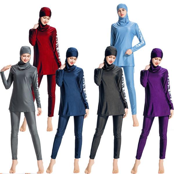 New Muslim Swimsuit Women Plus Size Swimwear Ladies Muslimah Modest Flower Printed Swimsuit Surf Wear Sport Sunscreen