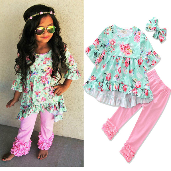 Europe and American Style Baby Girls Floral Print T-shirt and Pant and Headband 3pcs Suit Factory Direct Sales