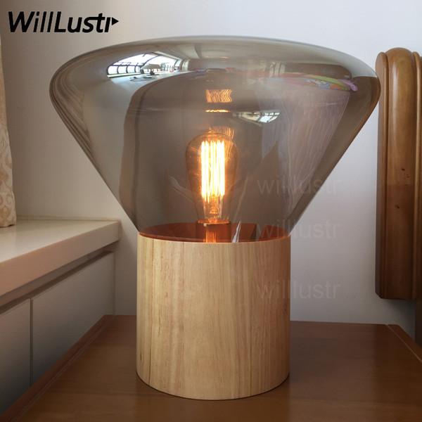 Brokis Muffins table lamp wood base clear smoke amber glass shade table lighting nordic design modern desk light vintage bulb