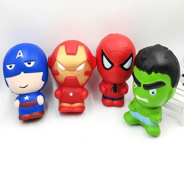 Squishy Cartoon Character iron Man Spiderman Avengers Marvel Heros Slow rising Simulation Squishies Perfume Phone Charms Phone Straps
