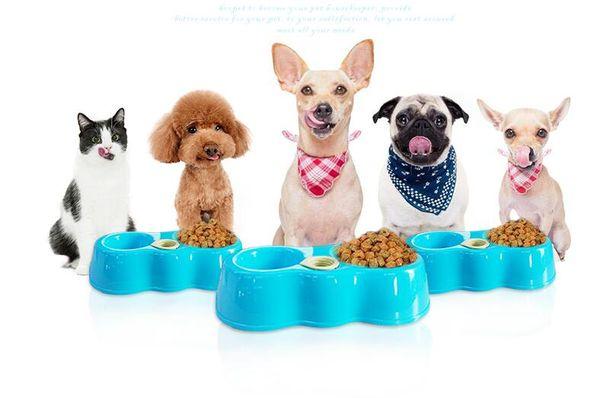 Pet Besleyici İçme Kase Kedi Köpek Maması Su Sebili Takılabilir Şişe ile Otomatik Besleyiciler Evcil Hayvan Besleyiciler için Gıda Bulaşık Çift Çanaklar