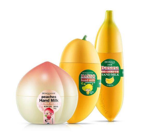 top popular BIOAQUA Women Skin Defender Banana Milk Hand Cream Moisturizing Nourish Anti-chapping Hand Care 40g Lotions Hand Cream 2021