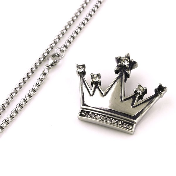 Popular King Crown Pendant Necklace Studded With Clear Crystal Rhinestone Charm Stainless Steel Necklace Jewelry Gift