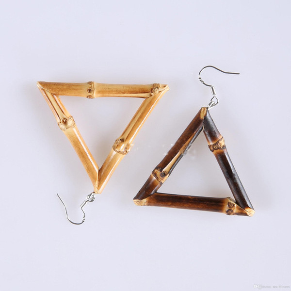 Free DHL Fashion Pop Triangle Bamboo Earrings Handmade Creative Natural Wind Square Carbonized Bamboo Whip Earrings For Women Jewelry H626F