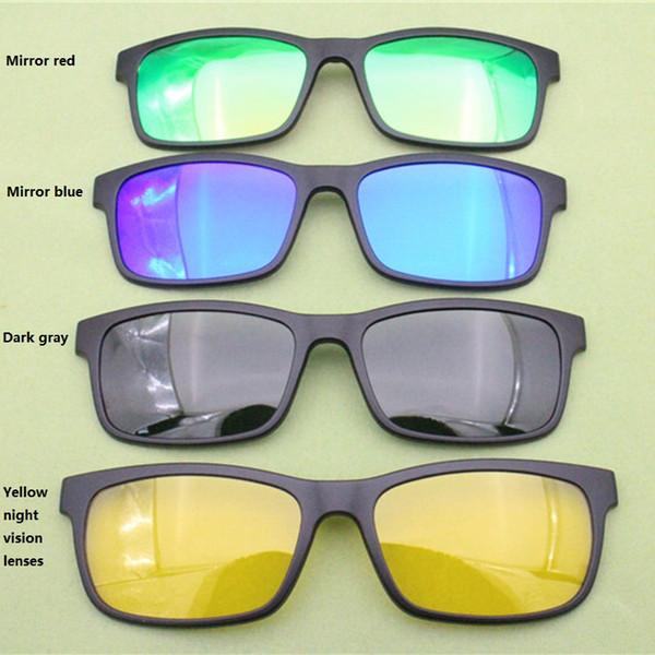Model No 007 tek kırpma TAC polarize dikdörtgen güneş gözlüğü miyopi hipermetrop lensler için lensler üzerinde ekstra klip