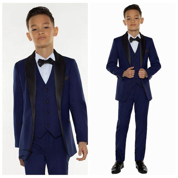 2019 günstige Marineblau Jungen Anzüge für Hochzeiten Prom Party Boy Anzüge Formelle kleidung für Kinder Smoking Kinder Kleidung Blazer (jacke + Pants + Weste)