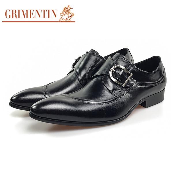 GRIMENTIN formal men leather shoes black 2018 side buckle male business shoes for men size:38-44 OM48