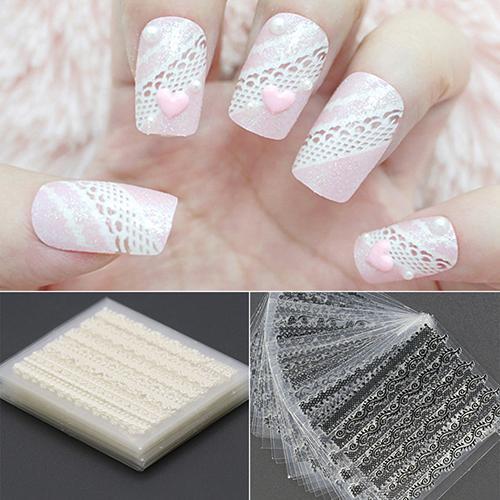 Nouveau Fashions 30 Feuilles 3D Dentelle Nail Art Autocollants Noir Blanc DIY Conseils Decal Manucure Outils